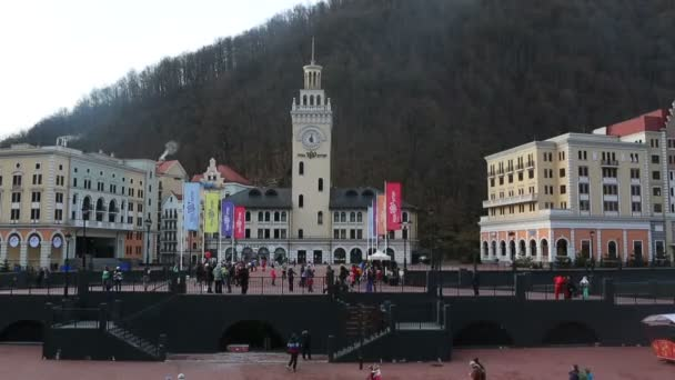 City Hall in the Rosa Khutor Alpine Resort. Time Lapse