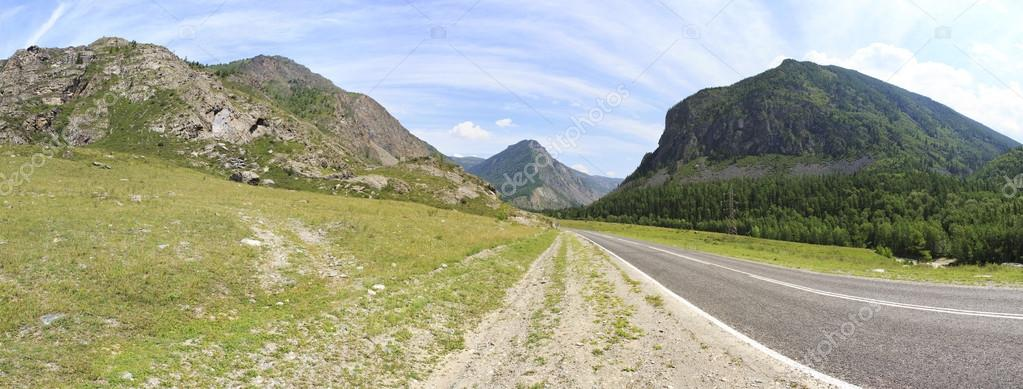 Beautiful panorama of Chuysky Trakt in Altai Mountains.