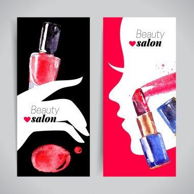 Watercolor cosmetics set.
