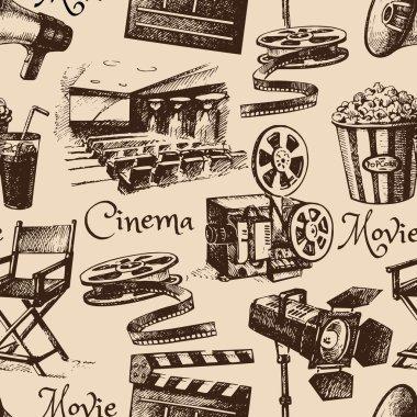 Movie film cinema seamless pattern.