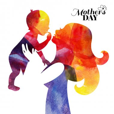 Watercolor mother silhouette with her baby. Card of Happy Mothers Day. Vector illustration with beautiful woman and child clip art vector