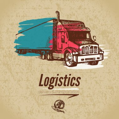 Sketch logistics and delivery poster.