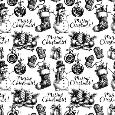 Christmas seamless pattern. Happy New Year hand drawn