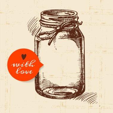 Rustic mason canning jar. Vintage hand drawn sketch design.