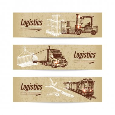 Sketch logistics and delivery banners