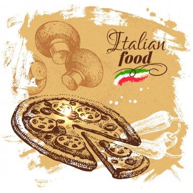 Hand drawn sketch Italian food background.