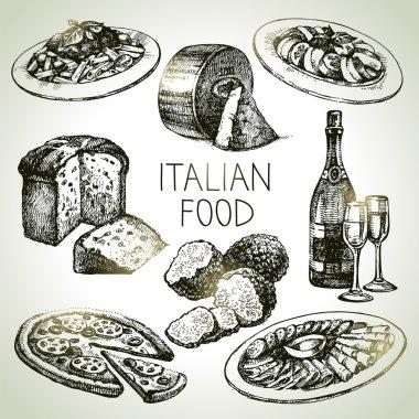Hand drawn sketch Italian food set.