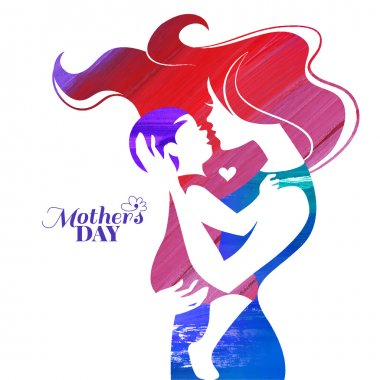 Acrylic painting mother silhouette with her baby. Card of Happy Mothers Day. Vector illustration with beautiful woman and child clip art vector