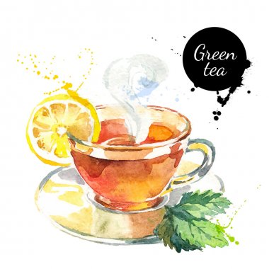 Watercolor hand drawn painted tea