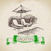 Fotografie Skizzieren Sie Familienurlaub Hintergrund