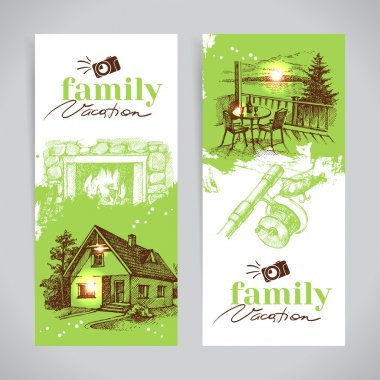 Family vacation vintage banner set