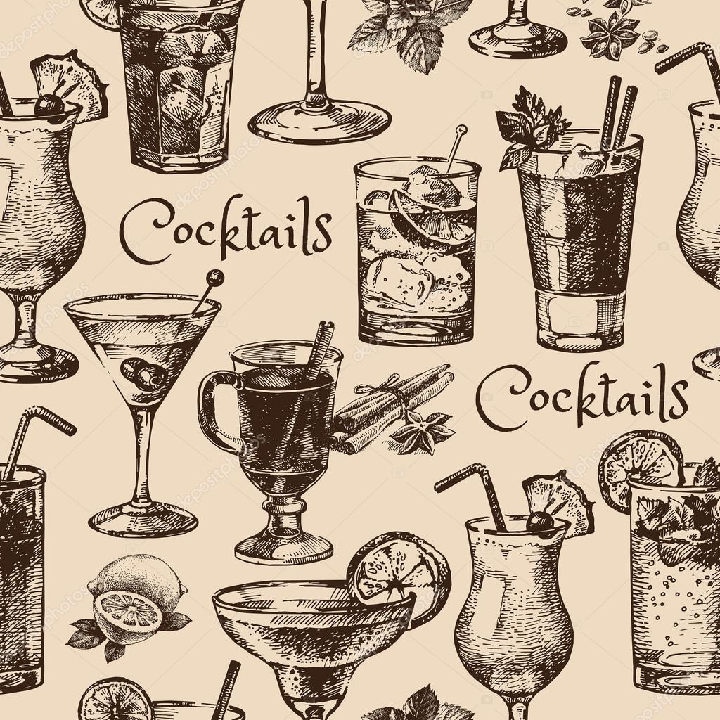 seamless pattern of alcoholic cocktails
