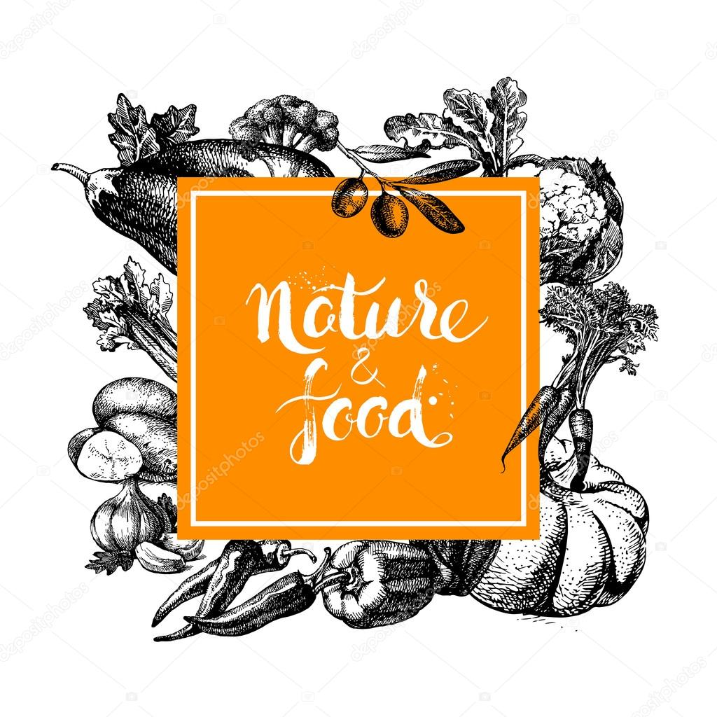 Eco natural food menu background.