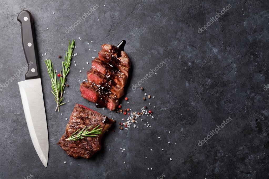 Grilled striploin steaks
