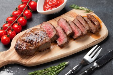 Grilled sliced beef steak