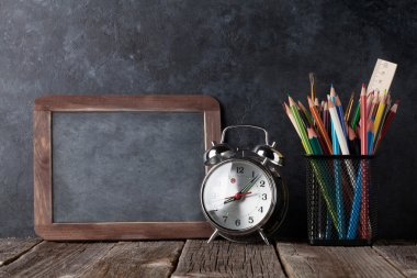 Alarm clock, supplies and chalk board