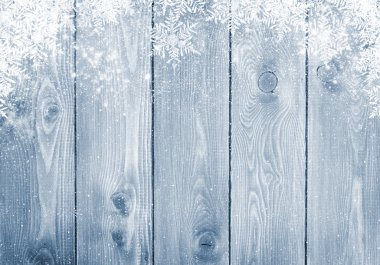 Blue wood texture with snow christmas background stock vector