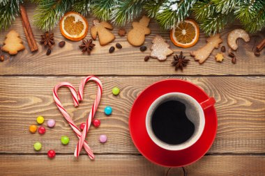 Coffee cup and christmas food