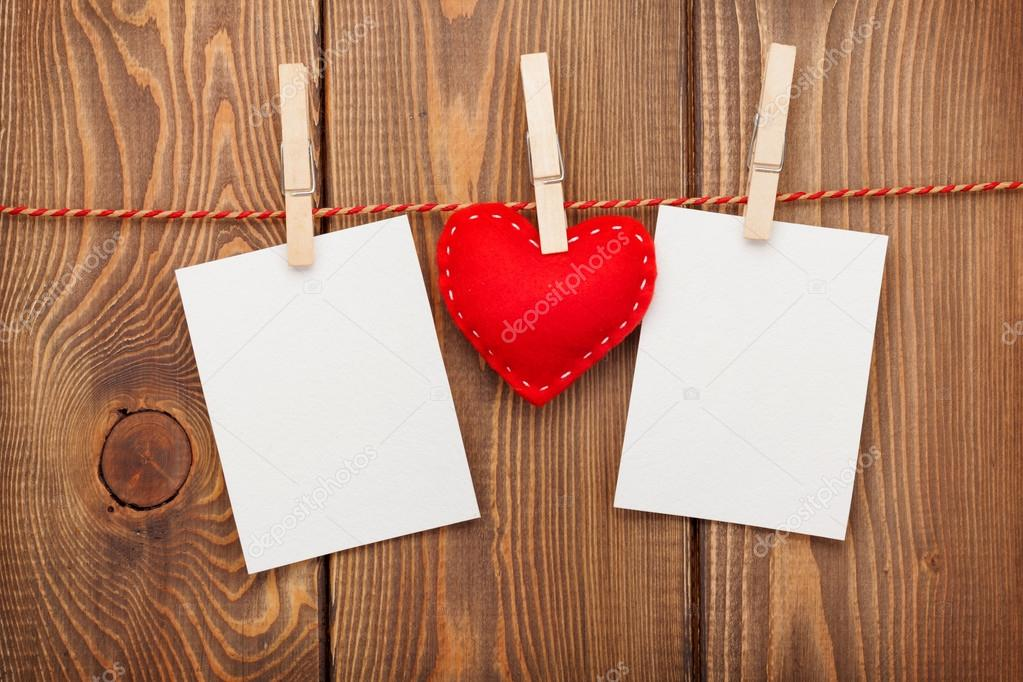 Two photo frames and valentines day toy heart — Stock Photo ...