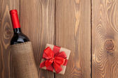 Red wine bottle and gift box