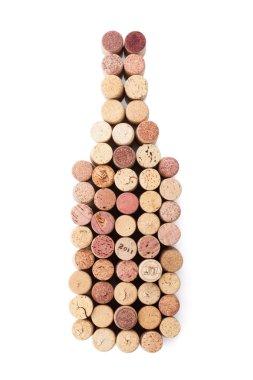 Wine shaped bottle by corks