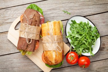 Two sandwiches with salad