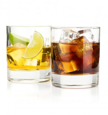 Whiskey and cola cocktails. Isolated on white background stock vector