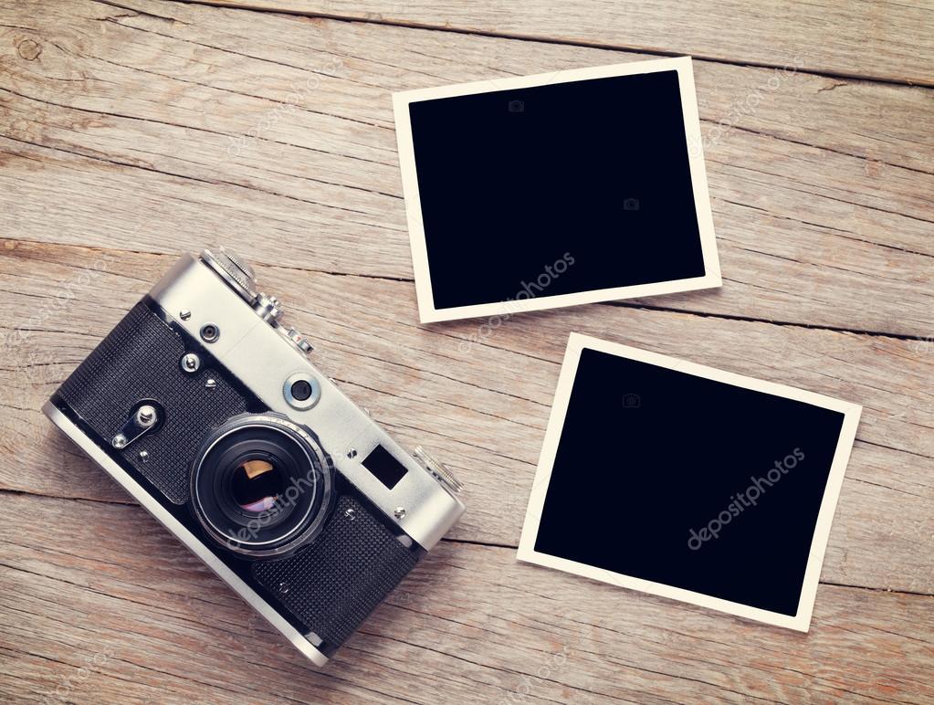 film camera and blank photo frames — Stock Photo © karandaev #87219398