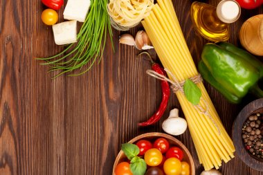 cooking ingredients. Pasta, vegetables, spices
