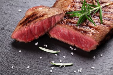 Grilled beef steak with rosemary
