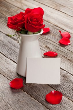 Red roses and Valentines greeting card