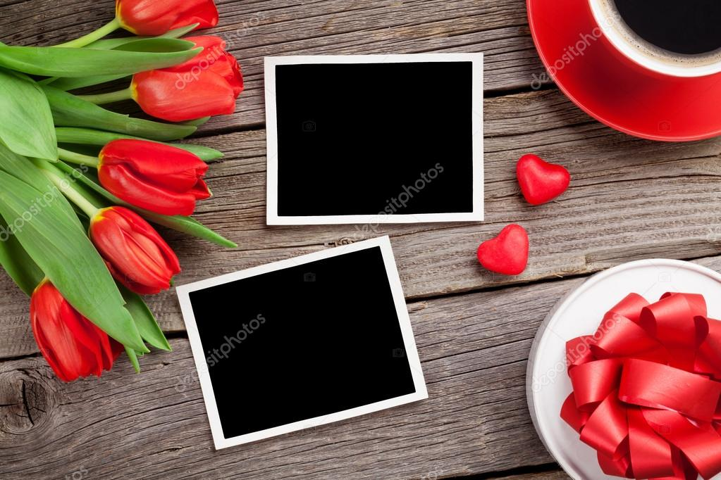 Tulips, gift box and photo frames.