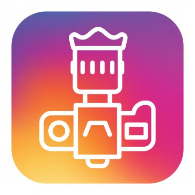 Professional dslr photo camera front view vector icon in linear style