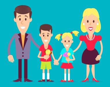 Happy family art illustration.