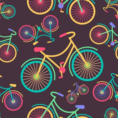 Retro hipster styled different colored parts bycicle