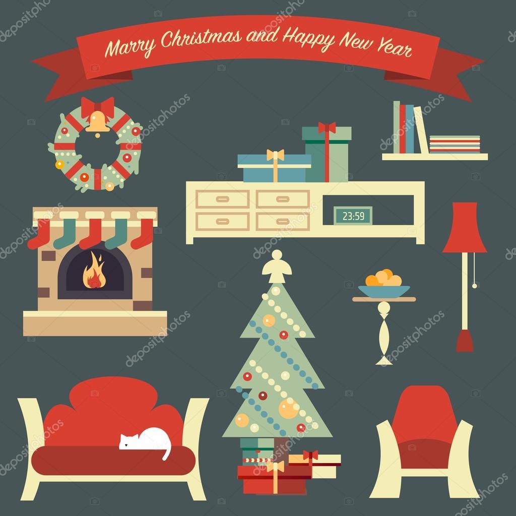 Con soggiorno di riparo di buon Natale — Vettoriali Stock © Zodchiy ...