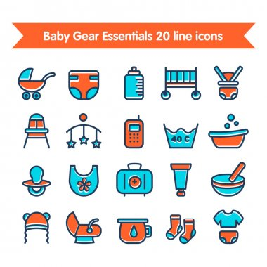 Baby Line Icons set colored 1