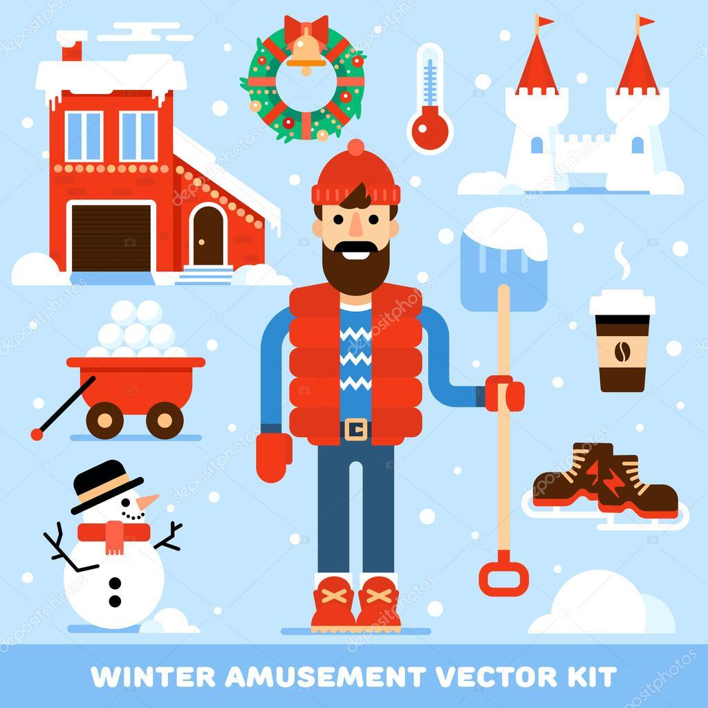 Kit Of Winter Leisure Symbols Stock Vector Zodchiy 88931946