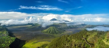 Mount Bromo and Batok volcanoes panorama