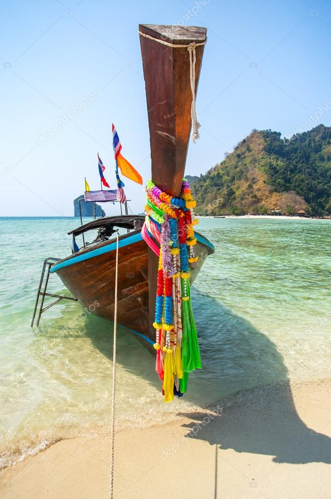Longtail boat at tropical beach