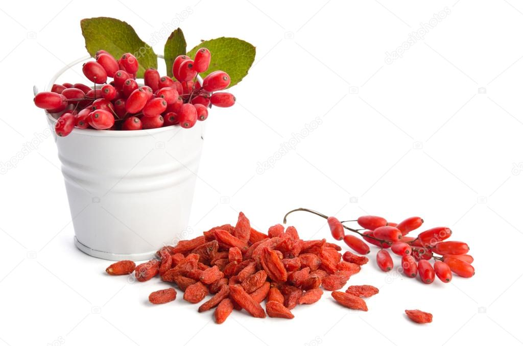 metal bucket with berberries near heap of goji berries  isolated