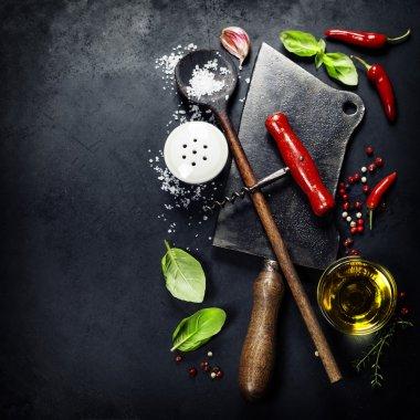 Vintage cutlery and fresh ingredients
