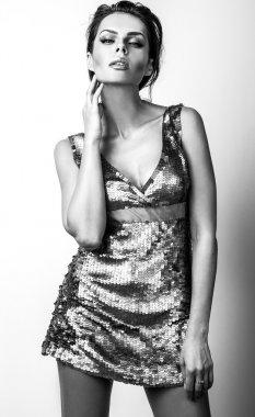 Black-white portrait of beautiful brunette woman. stock vector