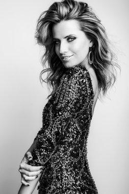 Black-white portrait of beautiful fashionable woman. stock vector