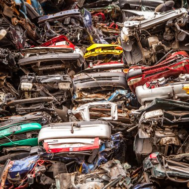 A pile of compressed cars