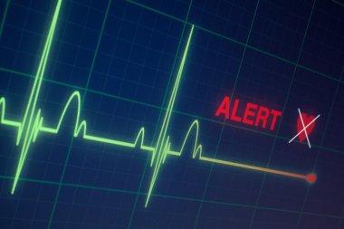 Flat line alert on a heart monitor. stock vector