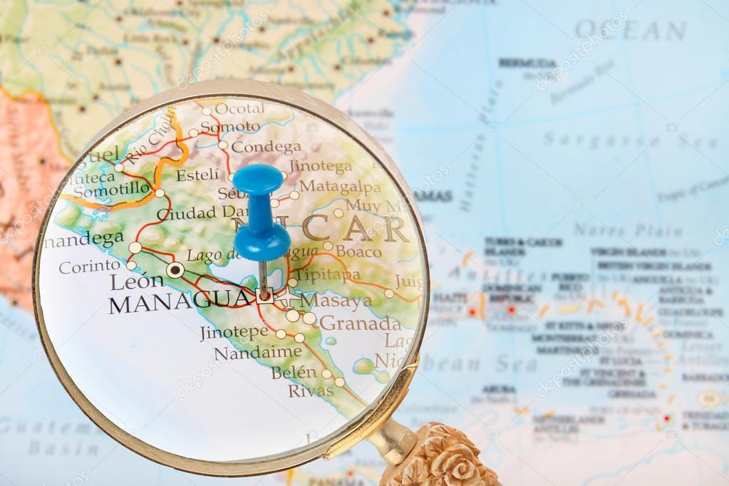 Looking In On Managua Nicaragua Stock Photo Gvictoria - Nicaragua map download