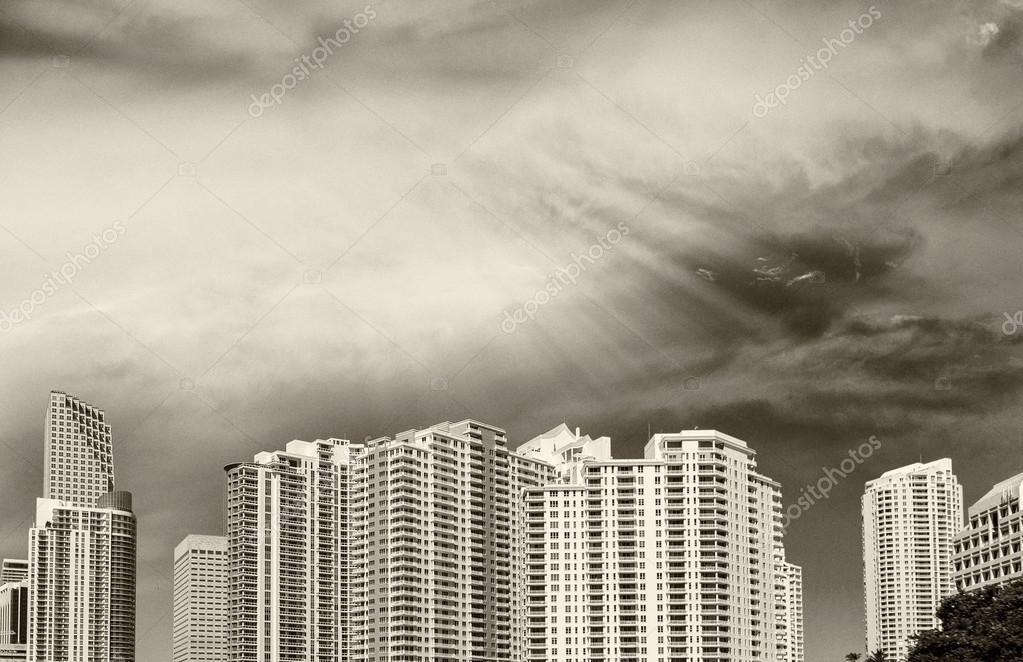 Black and white aerial view of Miami Beach buildings. Bird's eye