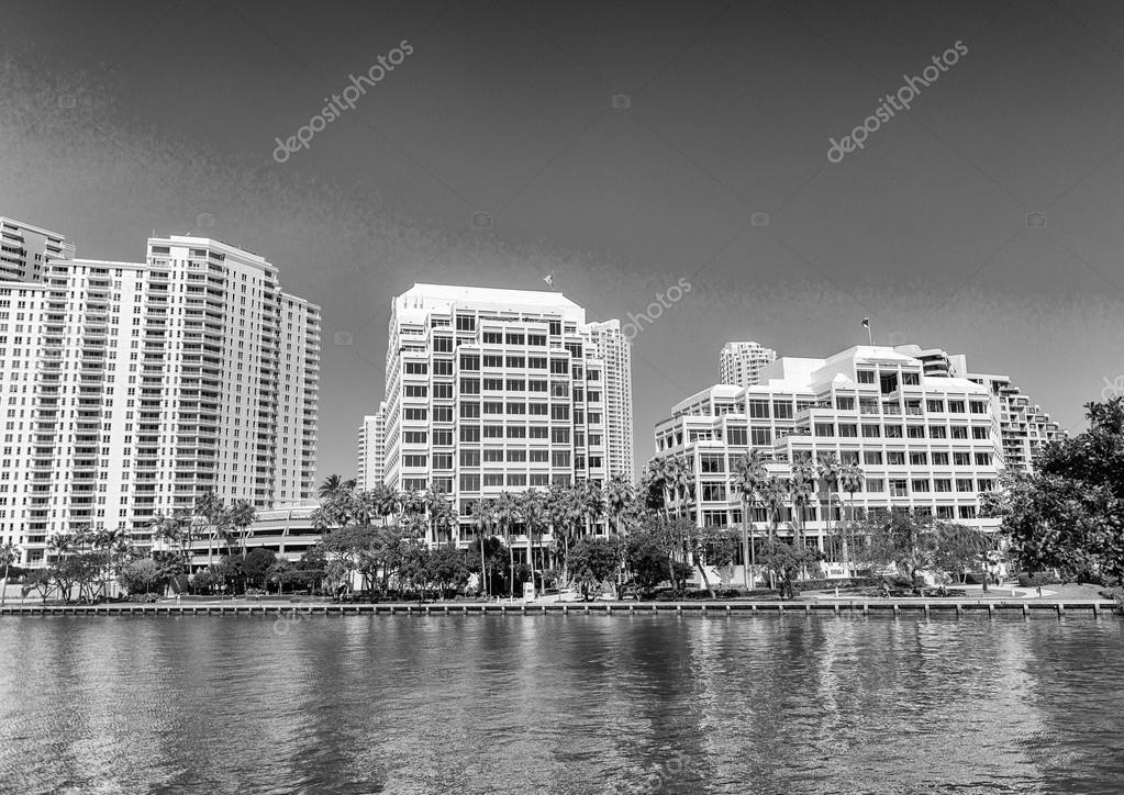 Beautiful skyline of Brickell Key, Miami - FL