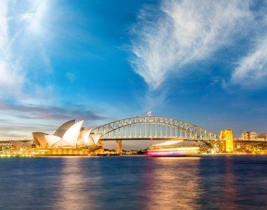 Sydney Harbour at night. Beautiful colors of Australia